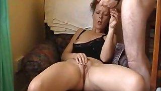 Hot brunette milf masturbating while hubby watch
