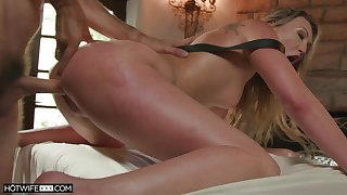 Sweet blonde screams relating to brutal scenes of anal doggy style