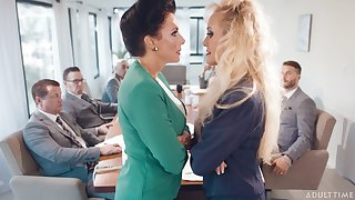 Naughty matures Brandi Love and Reagan Foxx drop their glad rags for copulation
