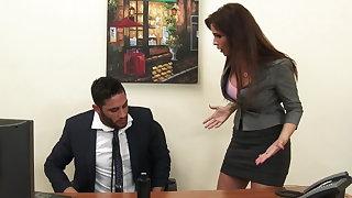 Off colour milf boss Syren De Mer exploits employee for dick hd