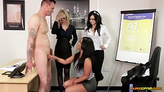 Impudent office MILFs share the new guy in spicy CFNM scenes