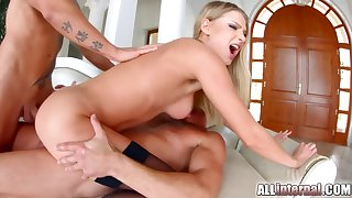 Lucy Constituent Far Gets Anal Creampie From Twosome Guys