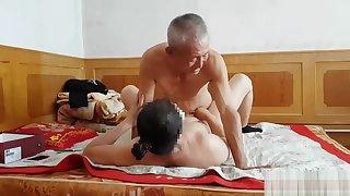 Handsome Chinese grandpa giving fucking