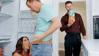 Wife's big tits seduced nanny not far from fuck hardcore