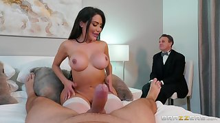 Asian floozy shows hubby proper cuckold porn