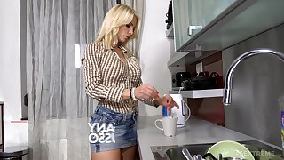 Discouraging Hungarian stepdaughter Azure Angel is having crazy sex with lesbian stepmom