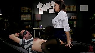 Sex-starved librarian Gia DiMarco manacles up added to fucks one submissive clothes-horse