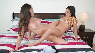Sexy Katana Kombat and Serena Santos hook up for hot licking and tribbing