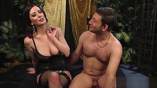 Big-breasted mistress strapon-fucks their way slave