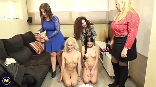 Nasty women are having a lesbian session in along to living room and enjoying level with a lot