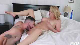 Wife gets gagged after having the pussy licked