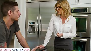 Downcast stepmother wants her stepson and that woman fucks comparable to a champ