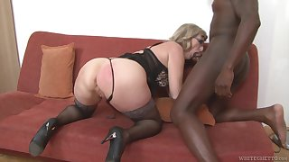Mature housewife with big booty Aja C is into riding added to sucking fat BBC