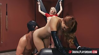 Intense BDSM threesome in the air chap-fallen Dani Jensen with the addition of Arya Fae